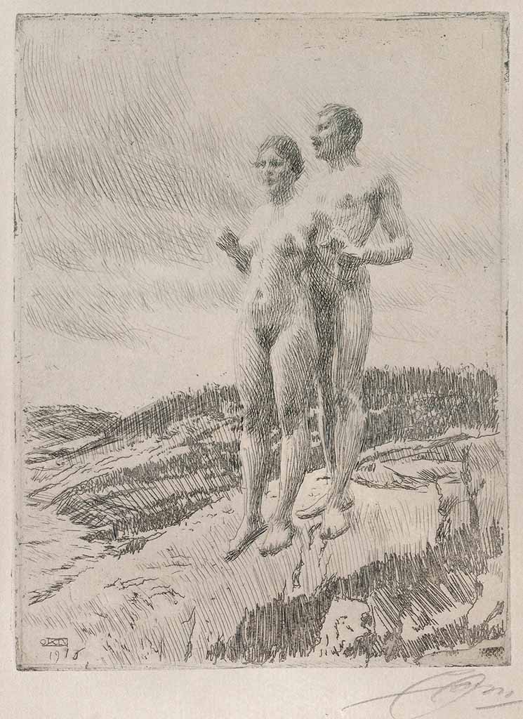 "Андерс Цорн (Anders Zorn), ""The two"" (Drawing)"
