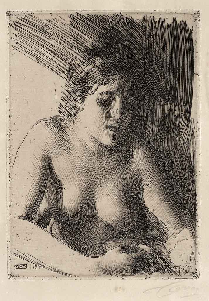 "Андерс Цорн (Anders Zorn), ""Bust"" (Drawing)"