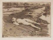 """Андерс Цорн (Anders Zorn), """"On the Sands"""" (Drawing)"""