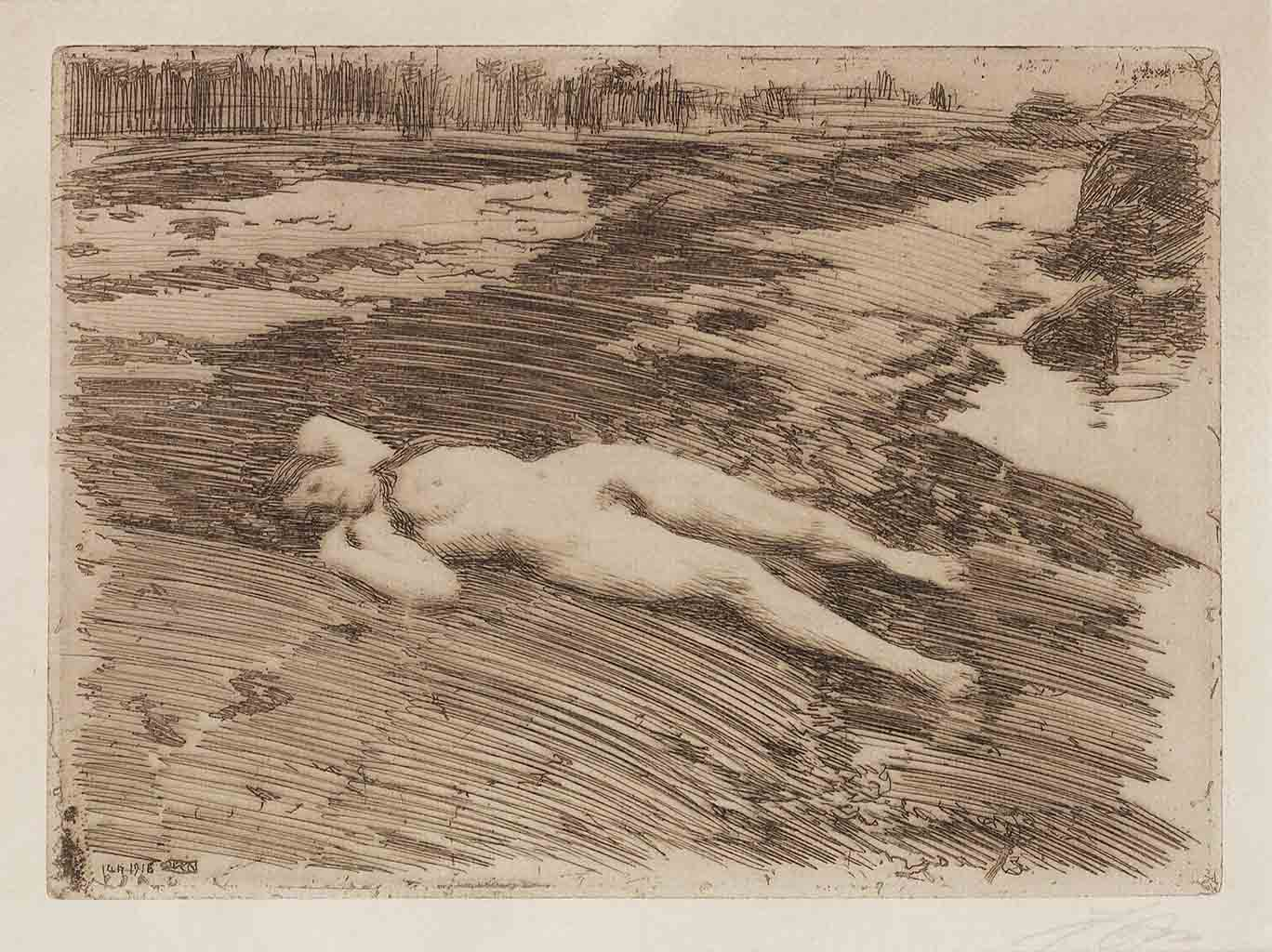 "Андерс Цорн (Anders Zorn), ""On the Sands"" (Drawing)"